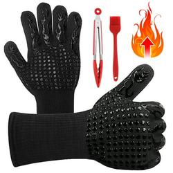SANWOOD Barbecue Glove,1 Pair BBQ Grill Gloves Heat Resistant Insulated Fireproof Non-Slip Oven Mitts with Silicone Brush Grilling Tong for Cooking Smoker Baking Barbecue,Heat-resistant