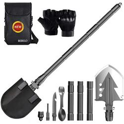 BEBEGO Folding Shovel Multitool Survival Kit, Military Tactical Camping Shovel with Fork Spoon/Gloves/Tactical Waist Pack are Ultimate Survival Tool for All Outdoor Activities