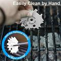 Stainless Steel BBQ Grill Scraper Brushes, 2Pcs Grill Scrapers Cleaner Barbecue Non-bristles Grill Brush Perfect BBQ Cleaning Tools, Works with Most Grill Grates, Grey