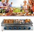 6 Burners Gas BBQ Grill LPG BBQ Grill Barbecue Cooker Outdoor Camping Smokeless