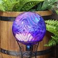 Sunnydaze Peaceful Waves Rippled Texture Outdoor Gazing Globe Glass Garden Ball Decor - Outdoor, Patio, Lawn and Backyard Sphere Ornament Decoration - 10-Inch