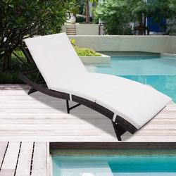Outdoor Chaise Lounge, Wicker Chaise Lounge for Patio, Folding Outdoor Rattan Lounge Chair with Adjustable Back, Cushioned Chaise Lounge Patio Furniture Set for Poolside Backyard Porch Lawn, Q9841