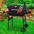Outdoor Charcoal Grill and Smoker, Charcoal Barbecue Grill with Large Cooking Surface, Oil Drum Charcoal Furnace and Offset Smoker Combo with Wheels, for Camping Garden Backyard Cooking Picnic, K3561