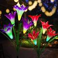 Solar Flower Lights,Solar Lights Outdoor,2 Pack Solar Powered Lights with 8 Lily Flower,Multi-Color Changing Solar Decorative Lights for Garden,Patio(Purple & Red)