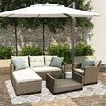Patio Furniture Sets, 4-Piece Outdoor Sectional Sofa Set with Loveseat and Lounge Sofa, Armchair, Coffee Table, All-Weather Wicker Furniture Conversation Set for Backyard Garden Pool, Q16387