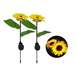 PiaoPiao Solar Lights Outdoor,Solar Stake Garden Lights, Set of 2 Solar Powered Lights Sunflower, LED Solar Decorative Lights for Garden and Patio