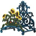 Cast Iron Heavy Duty Garden Hose Holder - Decorative Hand-Painted Sunflower Wall Mounted Water Hose Hanger - Wall Decoration Hanging Hose Rack - Hose Reel Storage Butler - Metal Hose Stand
