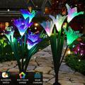 Elegant Choise Outdoor Solar Garden Stake Lights - 2 Pack Solar Powered Lights Lily Flower, Multi-color Changing LED Solar Stake Lights for Garden, Patio, Backyard (Purple and White)
