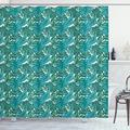 """Exotic Shower Curtain, Continuous Jungle Foliage Pattern with Tropical Leaves, Fabric Bathroom Set with Hooks, 69""""W X 84""""L Extra Long, Teal Dark Teal Shamrock Green Sea Blue, by Ambesonne"""
