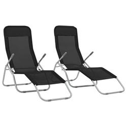Stop Now-2Pcs Outdoor Lounge Set, Adjustable Sun Recliner Chair Lounger for Beach