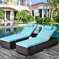 2PCS Patio Rattan Lounge Chair Chaise Recliner, Outdoor Patio Furniture Set for Pool, Reclining Rattan Lounge Chair Chaise Couch Cushioned with Adjustable Back, Side Table, Head Pillow, Q17011