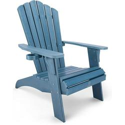 QOMOTOP Oversized Poly Lumber Adirondack Chair with Cup Holder, All-Weather Chair for Fire Pit & Garden,Fade-Resistant Lounge Chair with 350lbs Duty Rating, 38L 30.25W 41.5H (Blue)