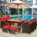 Costway 9PCS Patio Rattan Dining Set Cushioned Chairs Ottoman Wood Table Top White\Red