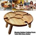 Wooden Outdoor Folding Picnic Table, Portable Picnic Table,Wine Glass Rack,Collapsible Wine Picnic Table for Outdoors, Garden, Travel, Small Beach Table