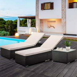 Pool Lounge Chairs, 3Pcs Patio Chaise Lounge Chairs Outdoor Furniture Set with Adjustable Back and Coffee Table, All-Weather PE Rattan Wicker Reclining Lounge Chair for Beach, Backyard, Garden, L4553