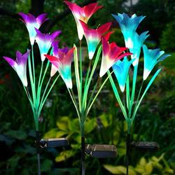 Solar Light Garden, 3 Pieces Lily Solar Lights for Outside Garden Lamps Solar Lights with Flower and Solar Panel Ip65 Waterproof Rgb 7 Colors Led Solar Path Lights for Garden Patio Backyard
