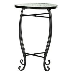 BRONGSLEET Mosaic Round Terrace Bistro Table With Coloured Glass Green Flowers Mosaic,Outdoor Table,Patio Side Table,Small Patio Table,Outdoor Side Tables