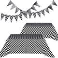 Racing Party Decorations Include 2 Pieces Black and White Checkered Table Cover and 2 Pieces Checkered Black and White Pennant Banner Racing Flags (Checkered Flag)