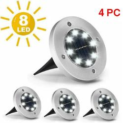 4 Pcs 8LEDs Solar Power Buried Light Under Ground Lamp Outdoor Path Way Garden, 8 LED Solar Garden Lights Solar Powered Ground Light