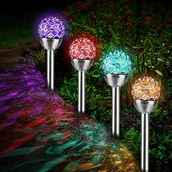 Beinhome Solar Path Lights, 4 Pack LED Solar Pathway Lights - Waterproof Solar Garden Stake Lights Outdoor - 7 Color Auto Changing Solar Globe Lights for Garden, Yard, Walkway, Party Decoration