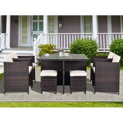 Patio Dining Set, SEGMART Outdoor Dining Sets, Brown Wicker Patio Furniture, 9 Piece Patio Furniture Sets with Table/4 Stools/Beige Cushions, Durable Outdoor Furniture Set for Yard Garden Lawn, H1334