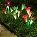 Outdoor Solar Garden Lights, 3 Pack 12 LED Solar Flower Lights,Waterproof Lily Flower Lights Solar Powered, Color Changing LandscapeLights for Garden, Pathway, Yard, Walkway, Porch Decor