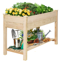 KINGSO Raised Garden Bed 4FT Elevated Wooden Planter Boxes Kit Outdoor with Legs Garden Grow Box with Shelves for Vegetable Flower Patio