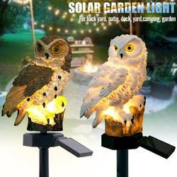 Garden Solar Lights Outdoor, Fake Owl Decor, Owl Garden Solar Lights, Solar Powered LED Lamp, Decorative Garden Stake Lights for Walkway Yard Lawn Landscape Lighting (White + Brown)