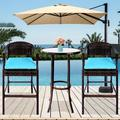 3 Pieces Patio Bar Set, Outdoor Patio Furniture Bar Stool Sets, Wicker Bistro Patio Set with 2 Bar Stools, Glass Coffee Table, Outdoor Cushioned PE Rattan Dining Table Sets for Backyard, Q17793