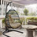 Swing Egg Chair, Hammock Chair with Cushion, Swing Hammock Chair with Metal Frame and U-Shaped Stand, Wicker Hanging Egg Chair for Indoor/Outdoor Garden Patio Deck Backyard Porch, Brown, L1628