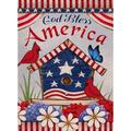 Home Decorative Outdoor 4th of July Patriotic Cardinal Garden Flag Double Sided, God Bless America House Yard Flag, Red Bird Geraniums Decorations, USA Flower Seasonal Outdoor Flag 12 x 18