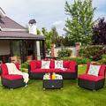 Costway 6PCS Patio Rattan Furniture Set Cushioned Sofa Coffee Table Garden