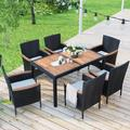 enyopro 7 Piece Outdoor Wicker Dining Set, Patio Dining Table Set for 6 Person, Garden Patio Rattan Dining Furniture Set with Beige Cushions, Dining Table Chairs Conversation Set for Deck Patio, K3485