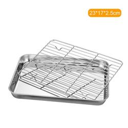 Stainless Steel Flat Bottom Baking Tray with Mesh Set Square Barbecue Plate with Cooling Rack Drip Pan Baking Plate Barbecue Tray Bakeware (23*17*2.5cm)