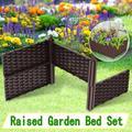 Backyard Balcony Outdoor Plastic Raised Garden Bed Raised Garden Bed Brown 12.6×6×0.7inch