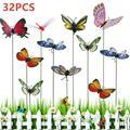 HOTBEST Butterfly Garden Decoration Set 8 Pieces Garden Butterfly Sculpture/Garden Butterfly Sculpture/Garden Butterfly Sculpture/Garden Dragonfly Sculpture Outdoor Decoration PVC Colorful