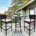 3 Pieces Patio Bar Set, Outdoor Patio Furniture Bar Stool Sets, Wicker Bistro Patio Set with 2 Bar Stools, Glass Coffee Table, Outdoor Cushioned PE Rattan Dining Table Sets for Backyard, Q17800