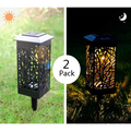 Ecosprial Solar Path Lights 2-Pack Solar Powered LED Garden Pathway Lights Auto On/Off Led Decorative Landscape Lighting Driveway Security Light,White Light
