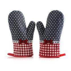 Brand New A Pair Heat Resistant Gloves Red Bow Heat Resistant Gloves Printing Thickening Microwave Oven Kitchen Barbecue Gloves red