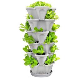 Wofair Stackable Garden Center Planter 5 Tier White 12 Inch Indoor and Outdoor Moving Strawberry and Herb Garden Planter Pot