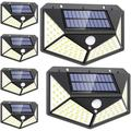 Solar Lights Outdoor, Solar Powered Motion Sensor Lights 100 LEDs Outdoor Waterproof Wall Light Night Light with 3 Modes with 270° Wide Angle for Garden, Patio Yard, Deck Garage, Fence - 6 Pack
