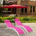 Ainfox Set of 2 Patio Lounge Chairs Adjustable Chaise Lounges Recliner for Patio, Garden, Backyard, Beach,Poolside(Pink)