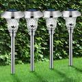 4 Pack Solar Garden Lights Outdoor, Decorative Solar Garden Lights Waterproof Glass Stainless Steel Auto-on/off Solar Landscape Lights for Lawn, Patio, Yard, Garden, Pathway, Driveway