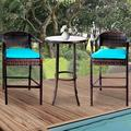 3 Piece Outdoor Height Bistro Chairs Set, Patio Bar Height Table with Cushioned Chairs, All-Weather PE Rattan High Top Table and Chairs Set with Metal Frame for Patio Backyard Porches or Garden, B14