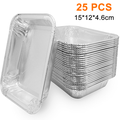 25PCS Aluminum Foil Grill Drip Pans -Bulk Pack of Durable Grill Trays Disposable BBQ Grease Pans Compatible with Made Also Great for Baking, Roasting and Cooking