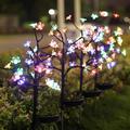 4 Pack Solar Fairy Lights Waterproof Multi-Color Solar Powered Garden Lights, Outdoor Solar Lights, Solar Flower Lights with 20 Cherry Blossom,Bigger Solar Panel for Pathway Patio Yard Christmas Décor