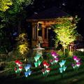 Outdoor Solar Garden Stake Lights,EEEkit Solar Garden Lily Lights,2 Sets Solar Flowers with 8 Flowers,Multi-Colors Changing LED Decorative Lights Suit for Garden,Patio, Backyard