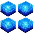 Barka Ave Solar Ice Lights, Glass Ice Lights Solar Brick LED Frosted Glass Path Lights Waterproof for Garden Courtyard Pathway Outdoor Decoration 4-Pack