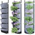 Hanging Wall Planters Indoor, Leather Waterproof 6 Pockets Wall Mount Planter for Garden, Outdoor, Balcony, Patio