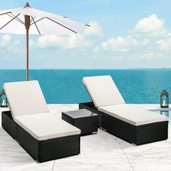 3-Piece Outdoor Patio Furniture Set Chaise Lounge, Patio Reclining Rattan Lounge Chair Chaise Couch Cushioned with Glass Coffee Table, Adjustable Back and Feet, Lounger Chair for Pool Garden